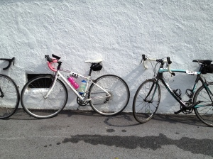 Day 1: Tour de Pink, beautiful lines of bikes.  Rest stop in PA.
